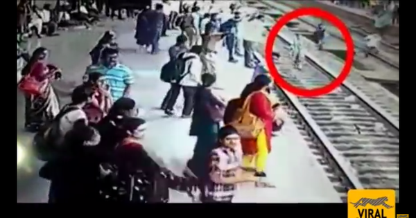 Caught on camera: Heartstopping footage of commuters stopping a woman from walking into a train