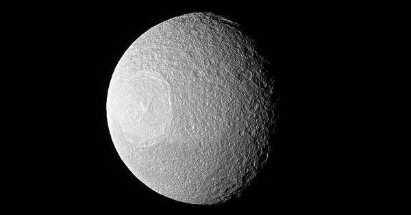 Nasa releases images of Death Star lookalike – Saturn's moon Tethys