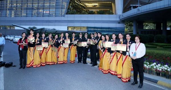 Air India has completed the first around-the-world flight with an all-women crew
