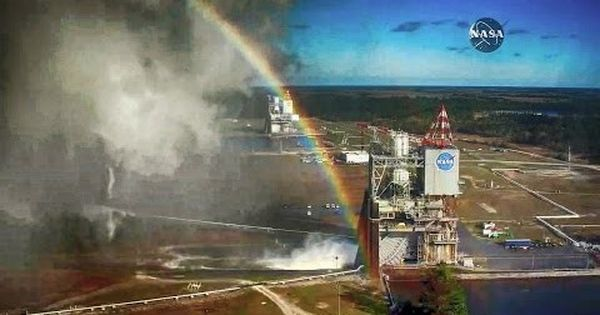 Watch: NASA's first engine test of 2017 came with an unexpected bonus – a stunning rainbow