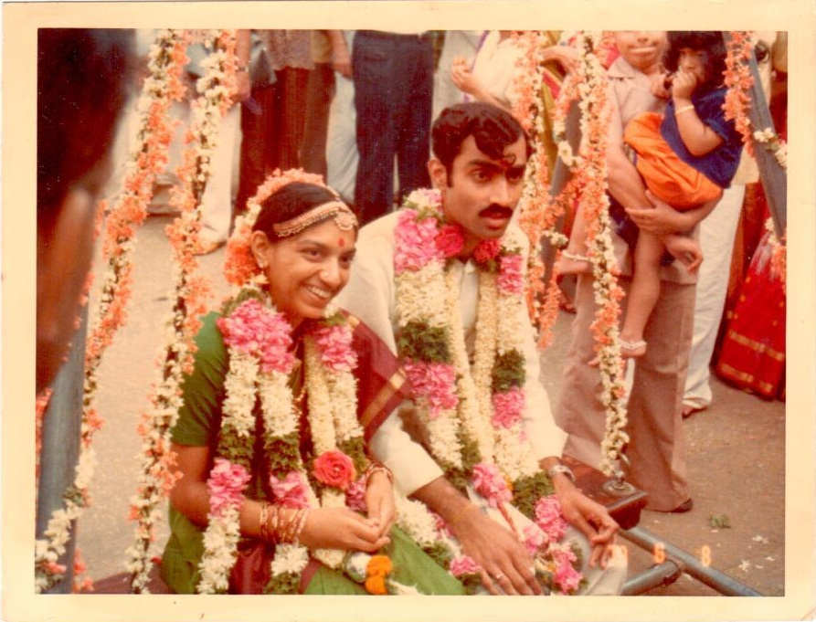 V Ramkumar and Vani in their wedding finery.