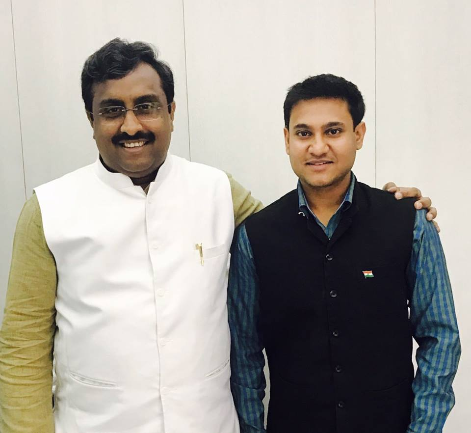 With BJP National General Secretary Ram Madhav. Facebook/Shivam Shankar Singh