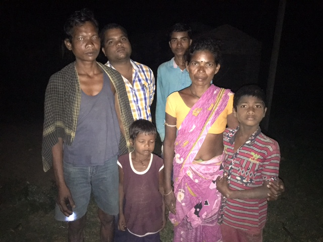 Pola Madhi and his neighbours at AB colony village in Malkangiri. Photo: Priyanka Vora.