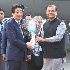 Japan PM arrives in India with nuclear treaty, bullet train deal on agenda