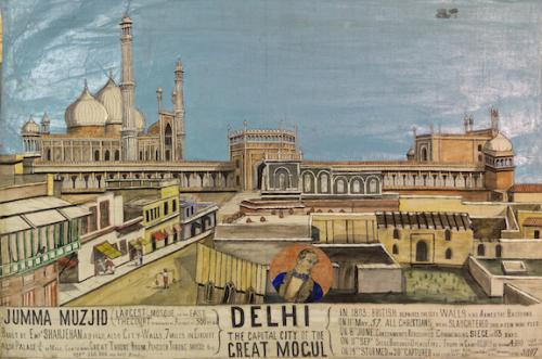 'Delhi, the Capital City of the Great Mogul', a panel from the Mutiny Scroll, British Library, Add Ms 37153. Photo credit: British Library