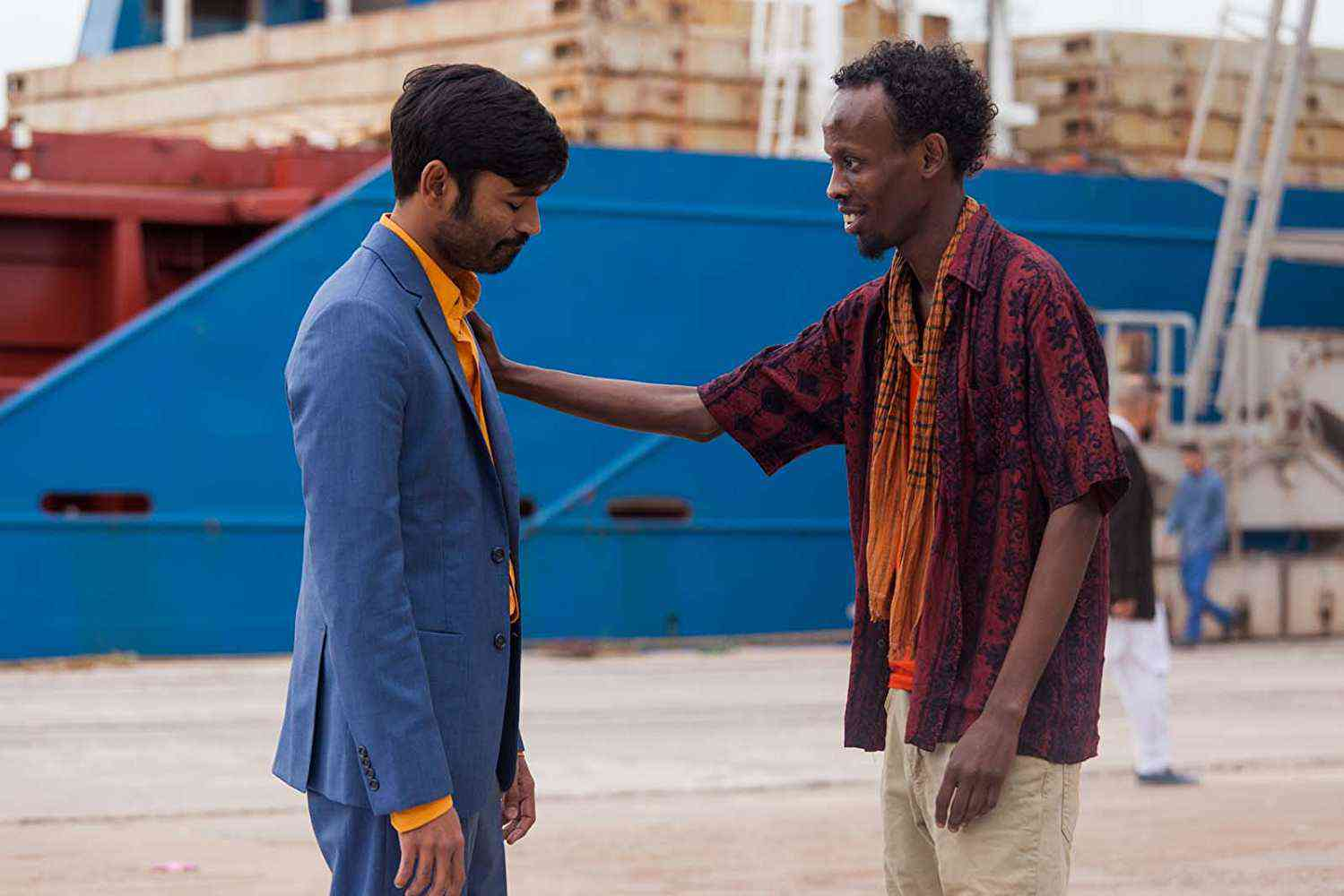 Dhanush and Barkhad Abdi in The Extraordinary Journey of the Fakir. Courtesy Sony Pictures.
