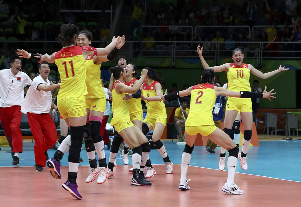China's women's volleyball team won gold, defeating Serbia 3-1 in the final. Image credit: Yves Herman / Reuters
