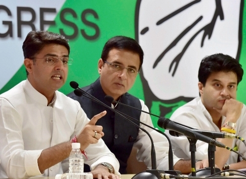 From left: Sachin Pilot, Randeep Surjewala and Jyotiraditya Scindia are among the young Congress leaders expected to be part of Rahul Gandhi's core team. (Credit: PTI)