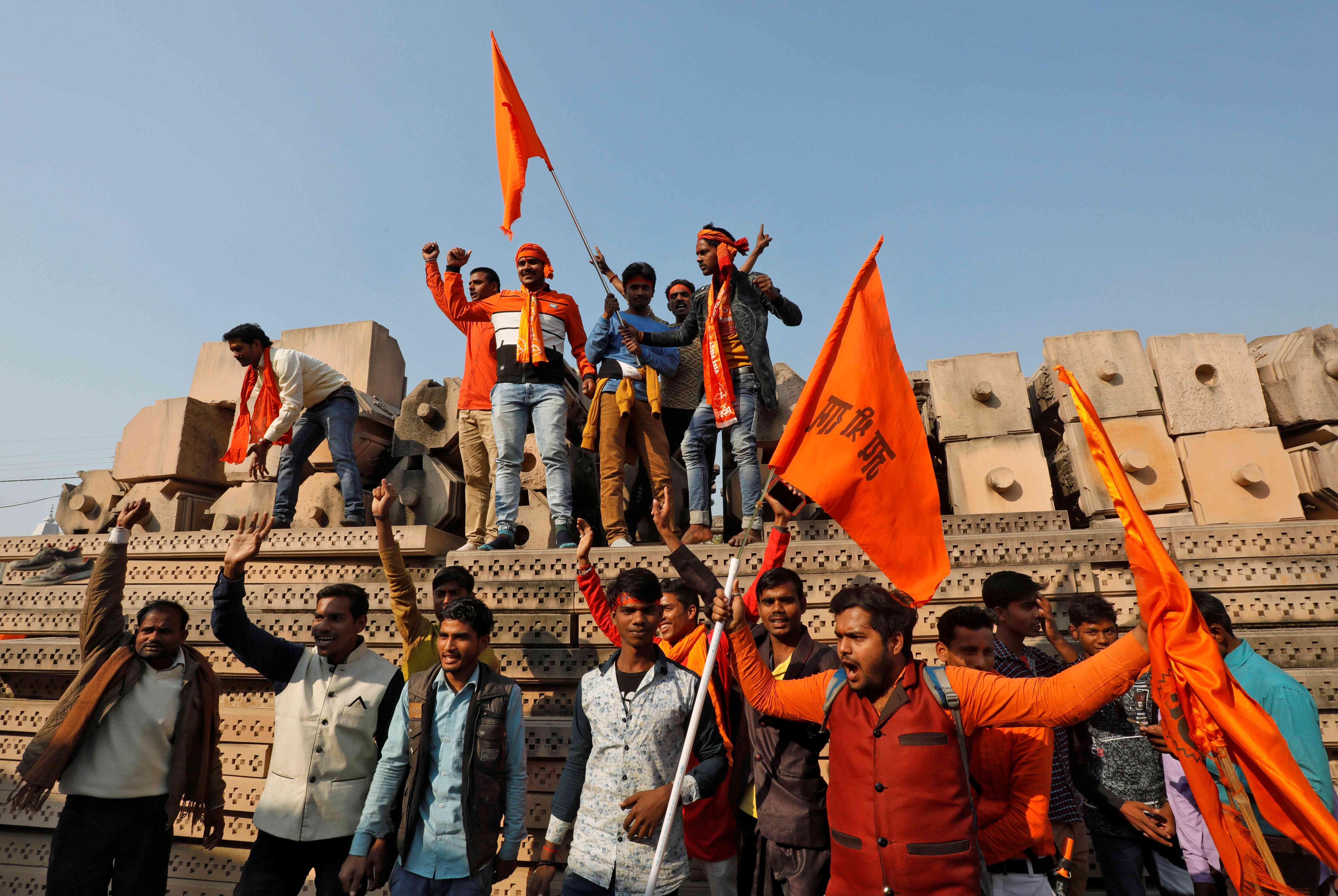 Vishwa Hindu Parishad supporters in Ayodhya in November. Credit: Pawan Kumar / Reuters