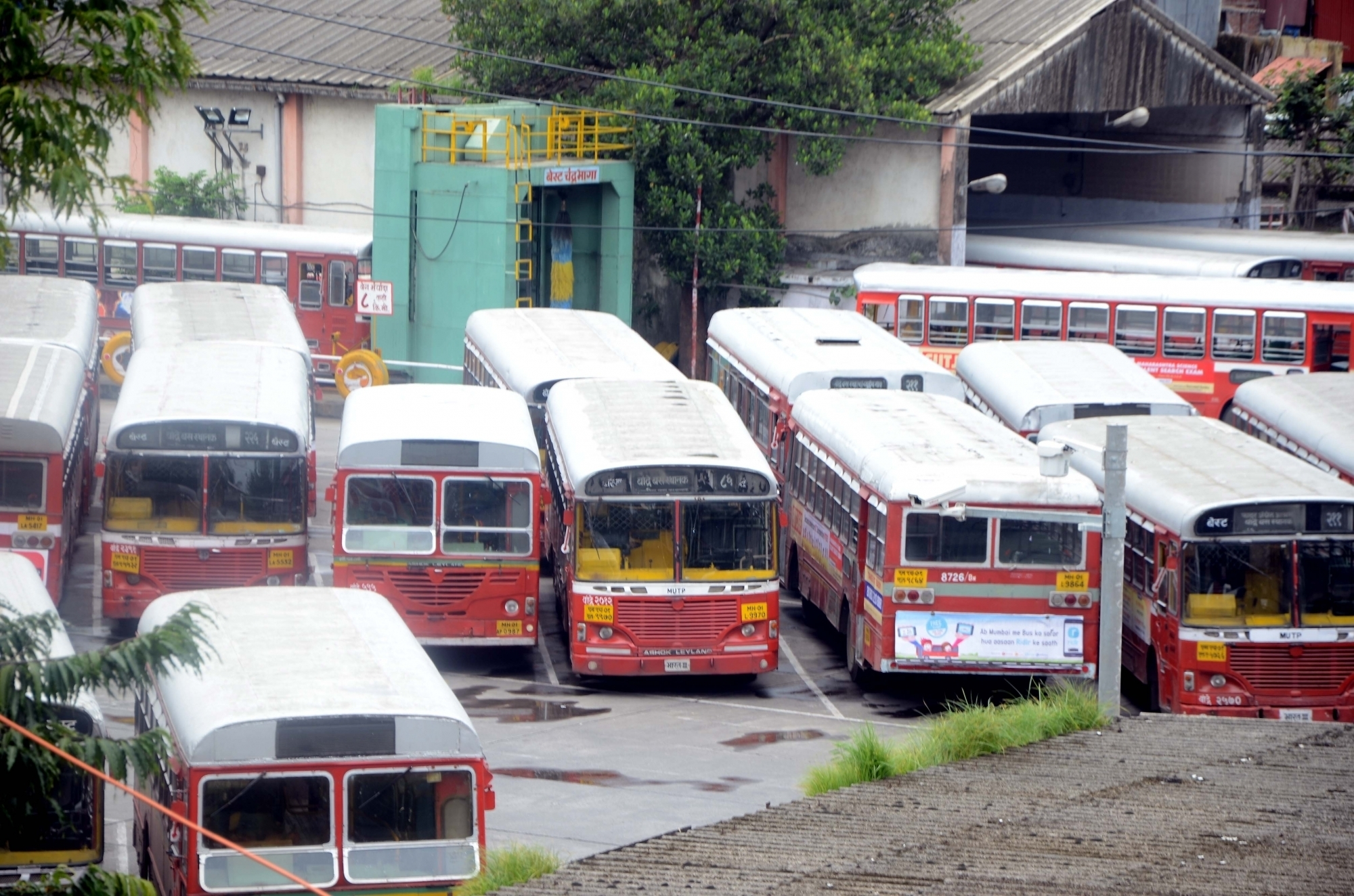 BEST buses in a depot as employees struck work on August 7. IANS