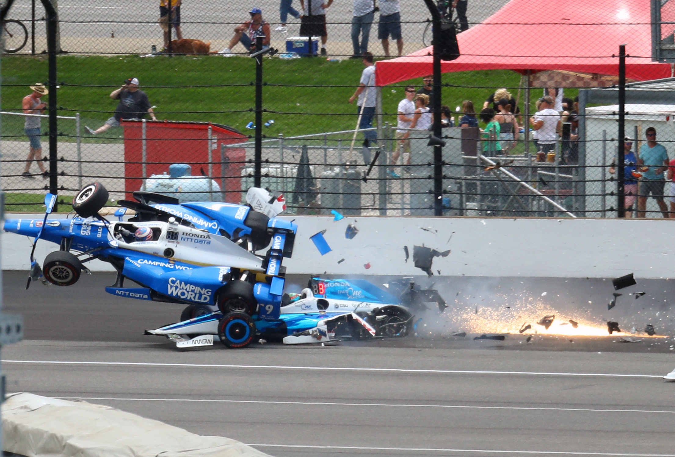 Scott Dixon's car during the collision. Image Credit: Reuters