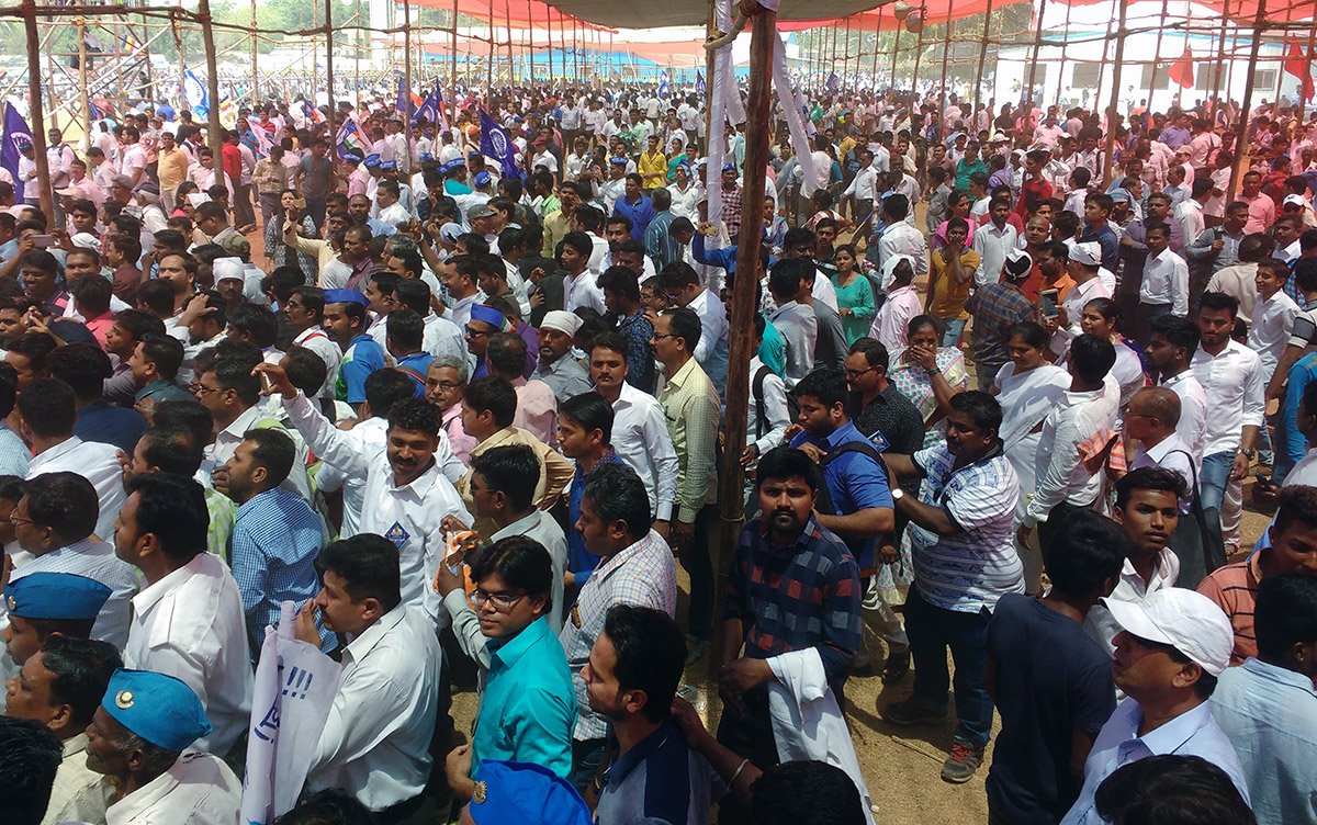 At around 1 pm, the protestors shifted from a smaller pandal to a larger stage in the ground. Photo credit: Mridula Chari