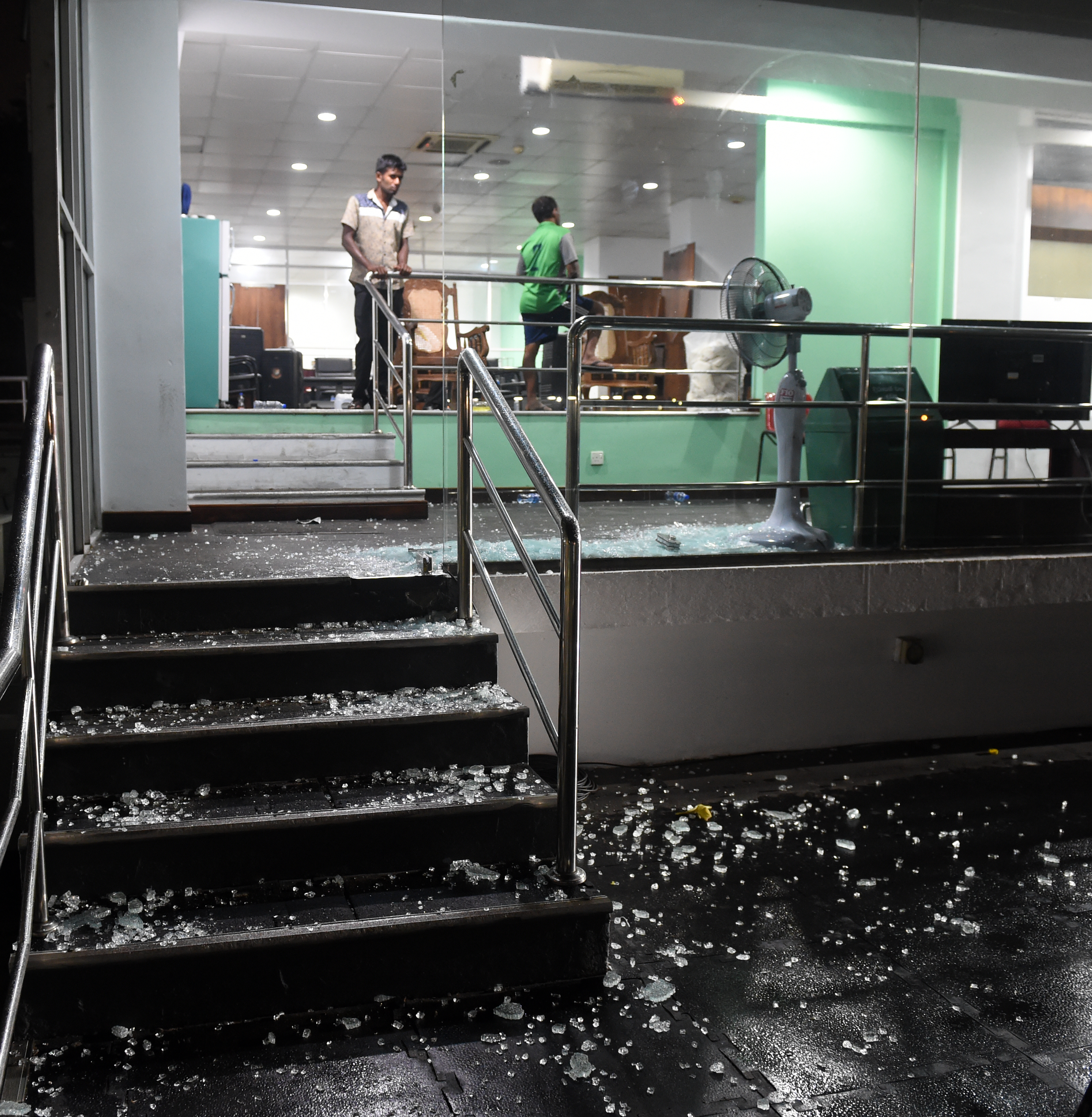 Bangladeshi players smashed the dressing room window after beating Sri Lanka and qualifying for the tri-series final in Colombo (Image: AFP)