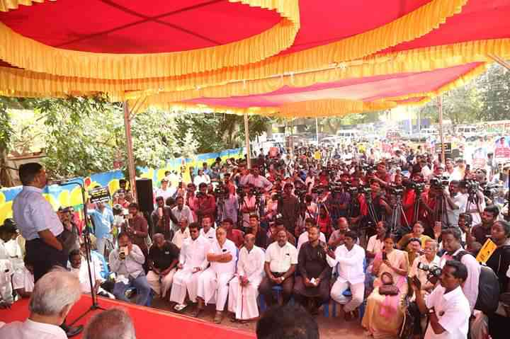 Viduthalai Chiruthai Katchi leader Thol Thirumavalavan addresses a protest meeting called to demand the government find RS Mugilan, in Chennai. Photo credit: Kaveri Protection Committee
