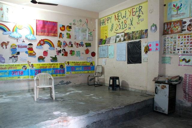 Inside the anganwadi centre at Saket Block, Mandawali.