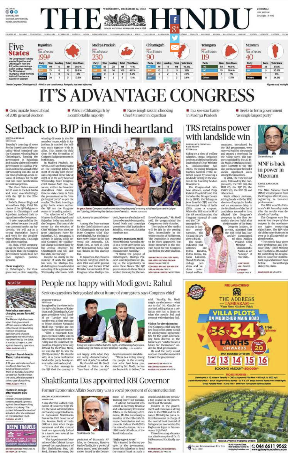Congress wins three state elections: How newspapers covered the