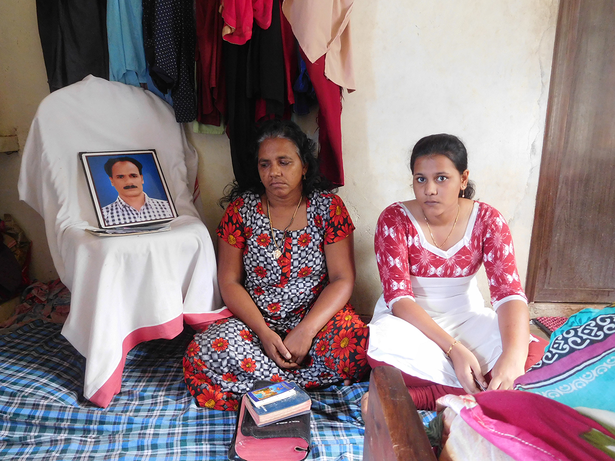 Alvari's wife Vijaya Mary and daughter Anfia A Arok in their home in Thoothoor.