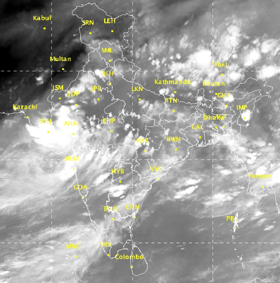 Cloud formations over western India on August 29. Image credit: India Meteorological Department
