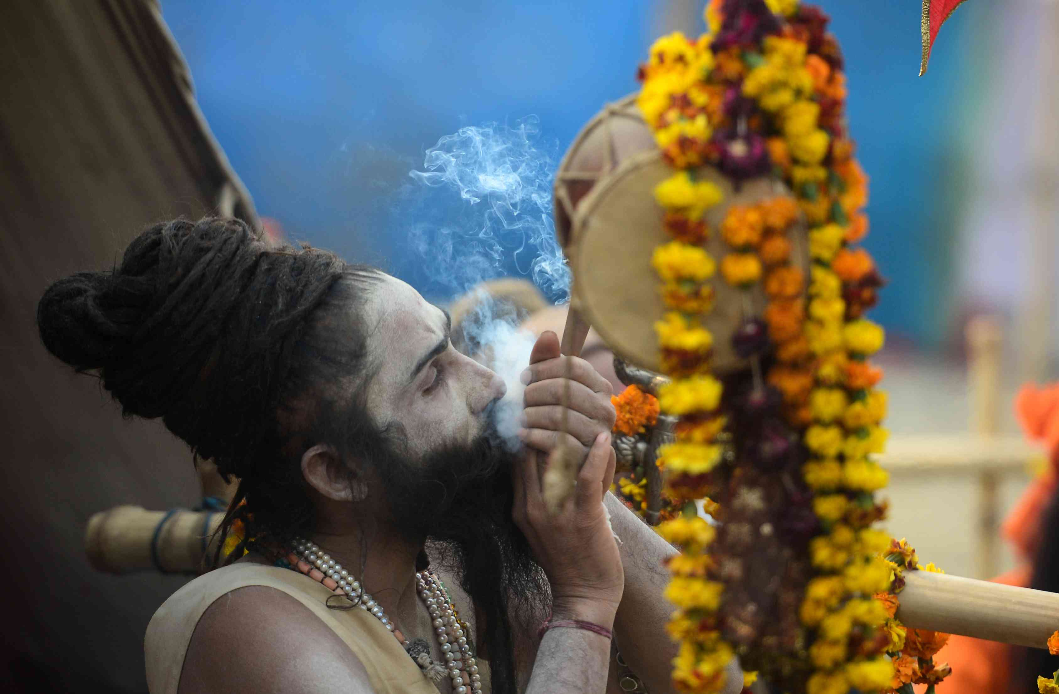 A Hindu pilgrim at the site of the Kumbh mela on Sunday. Credit: Sanjay Kanojia/AFP