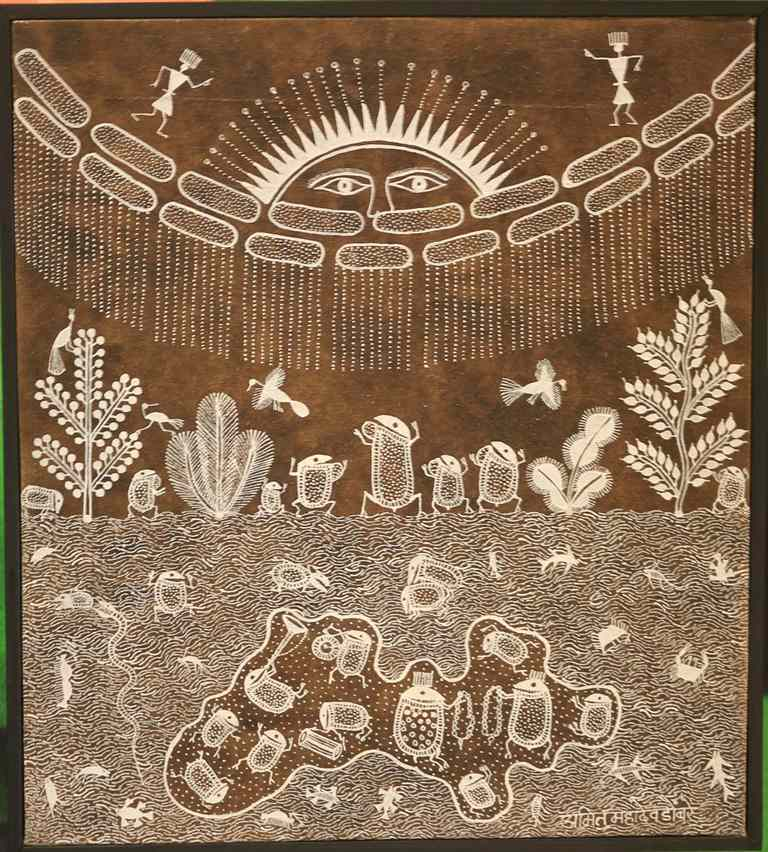 Frogs in Warli art.