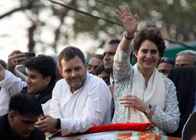 Congress President Rahul Gandhi and Uttar Pradesh Congress General Secretary Priyanka Gandhi in Lucknow on February 11, 2019. (Photo credit: AFP).