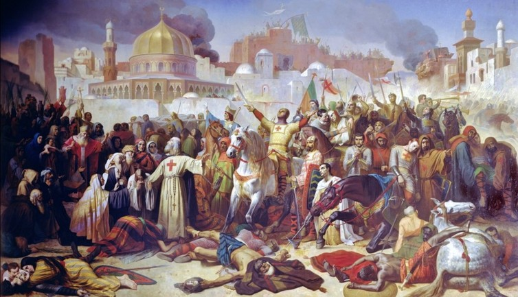 Taking of Jerusalem by the Crusaders, 15th July 1099.  Giraudon/The Bridgeman Art Library