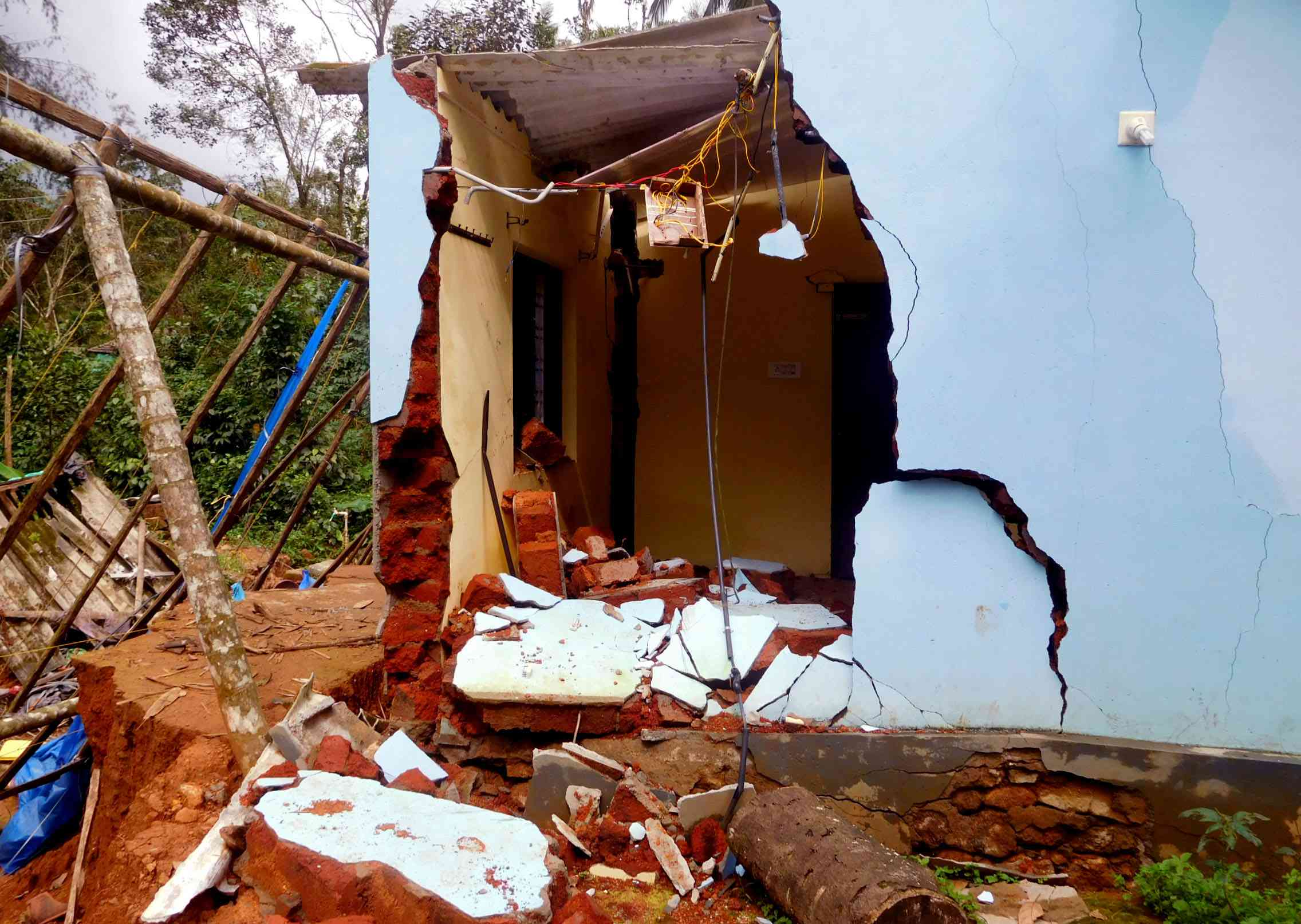 A home in Priyadarshini Colony in Boys Town destroyed by land subsidence.