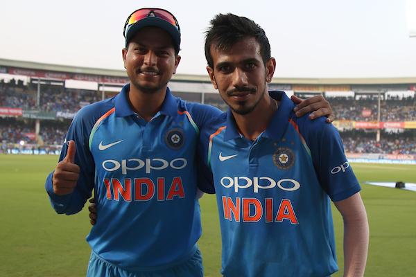 Kuldeep Yadav (left) and Yuzvendra Chahal finished with three wickets apiece. Photo: Sportzpics