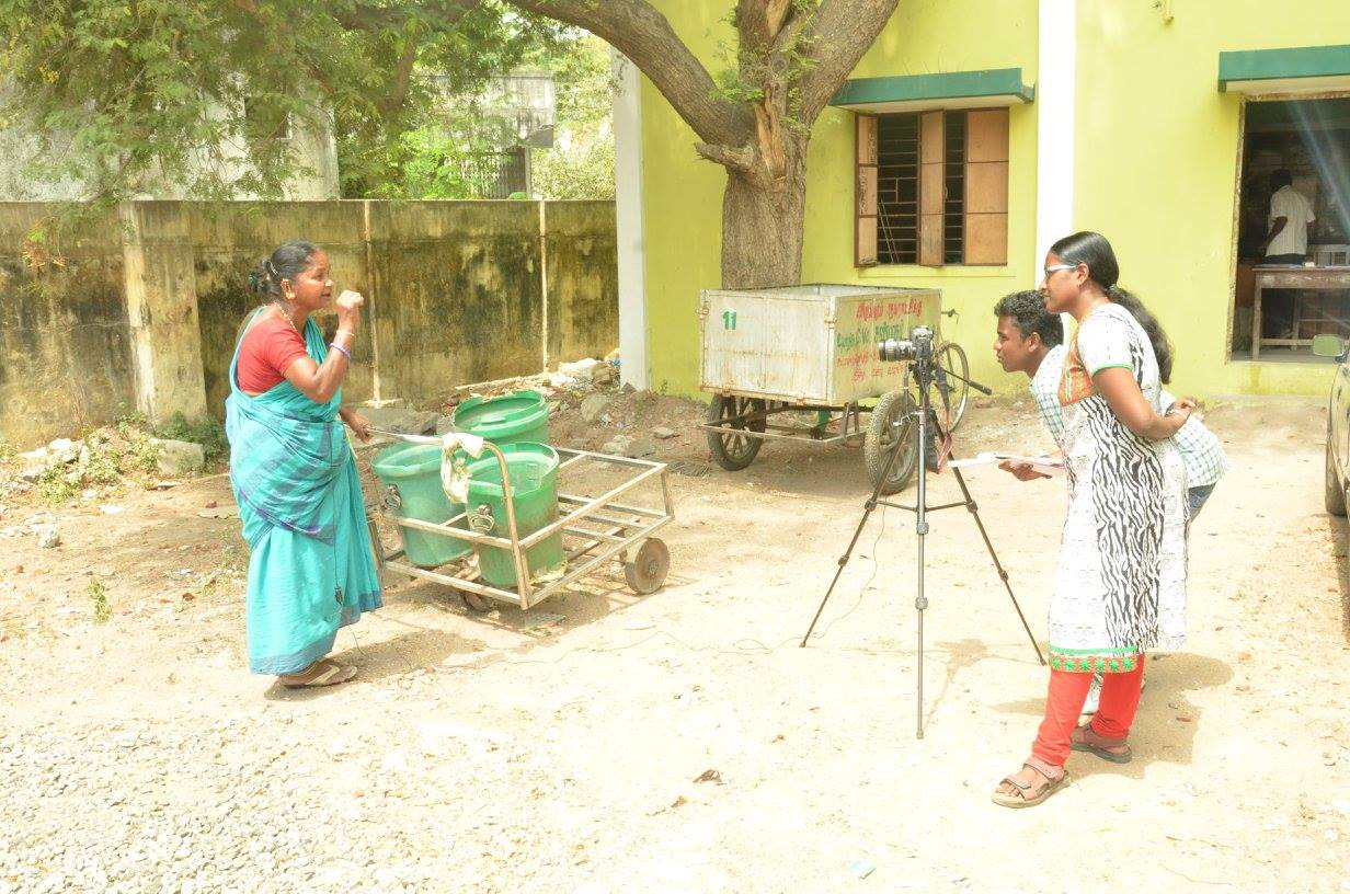 Divya Bharathi interviewing a sanitation worker. Credit: Kala Gopal.