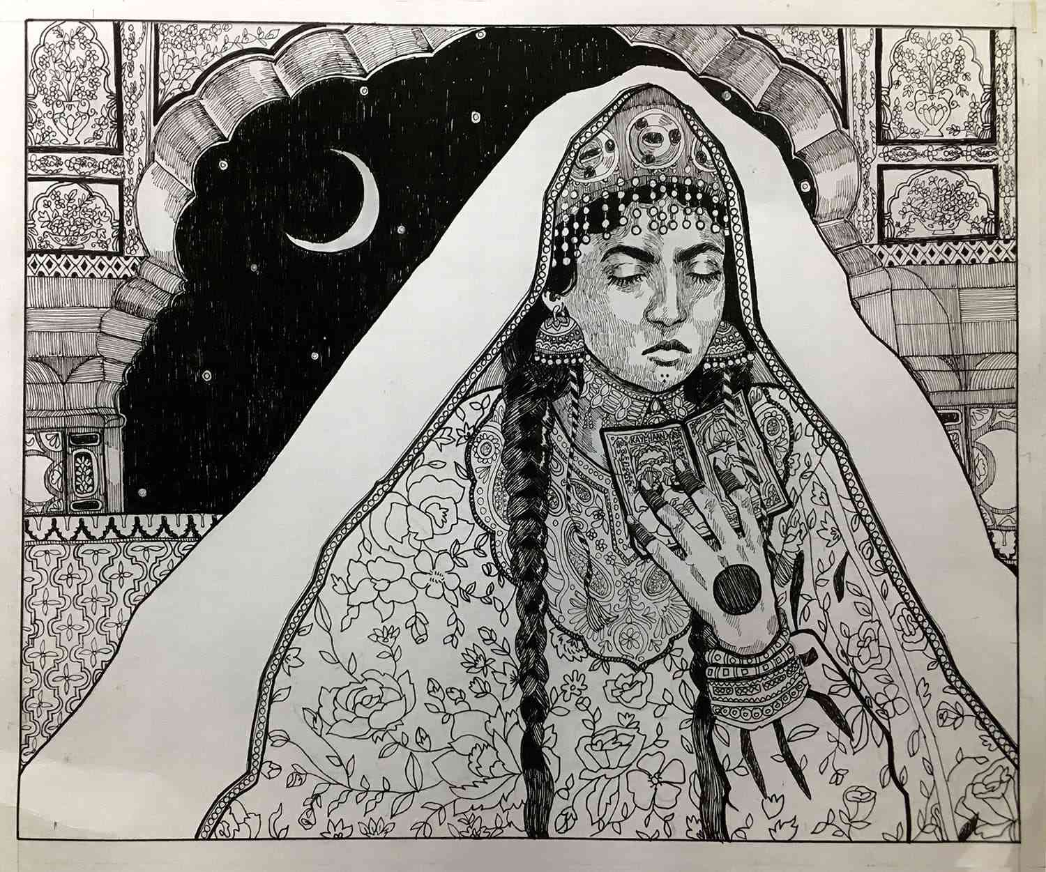 Kayehaan Anjum Khan, 'Habba Khatoon', Ink on Paper.