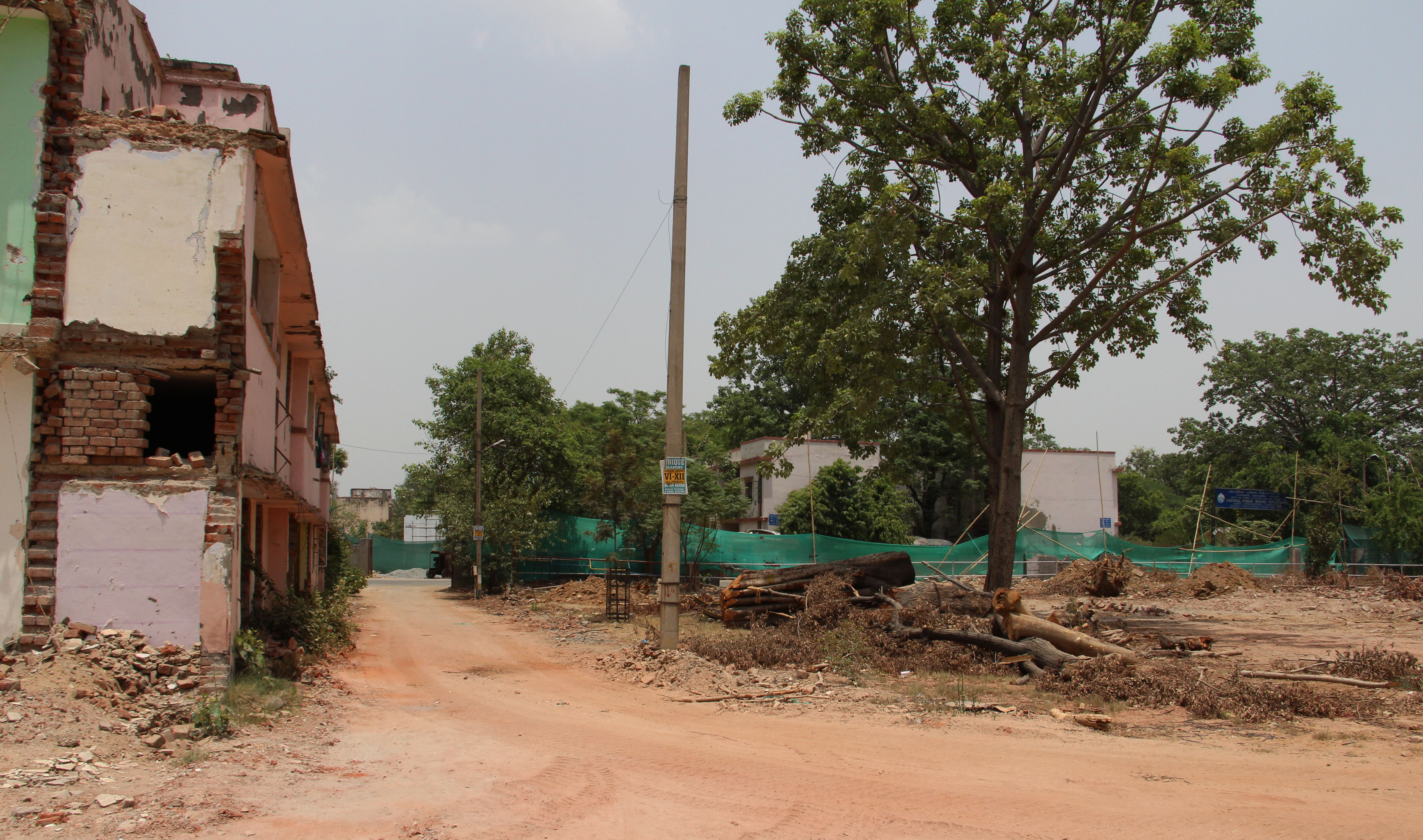 Old government staff quarters and trees are currently being felled in Netaji Nagar. Photo credit: Aabid Shafi