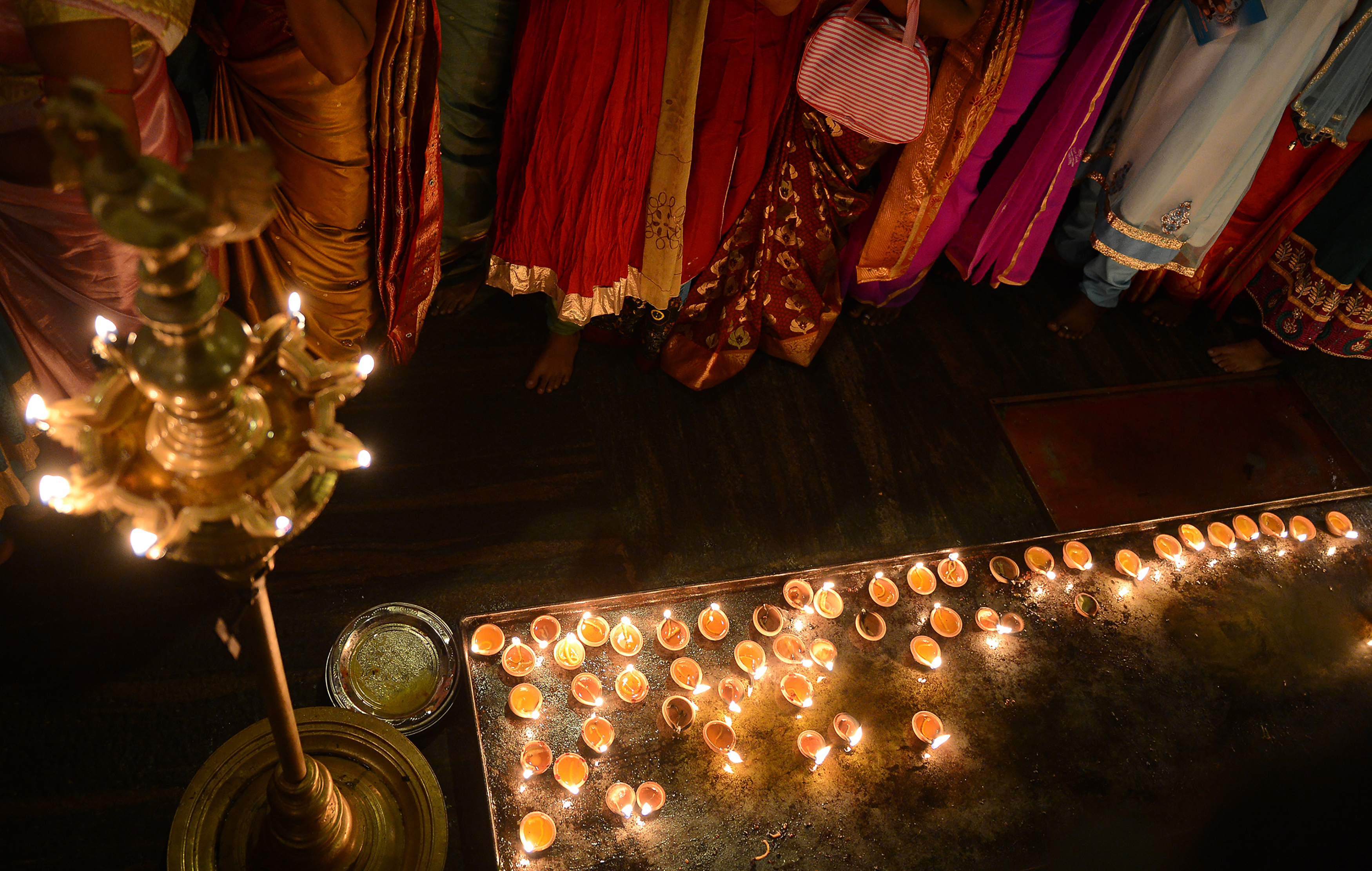 Diwali decorations at a temple in Colombo, Sri Lanka. (Credit: AFP)