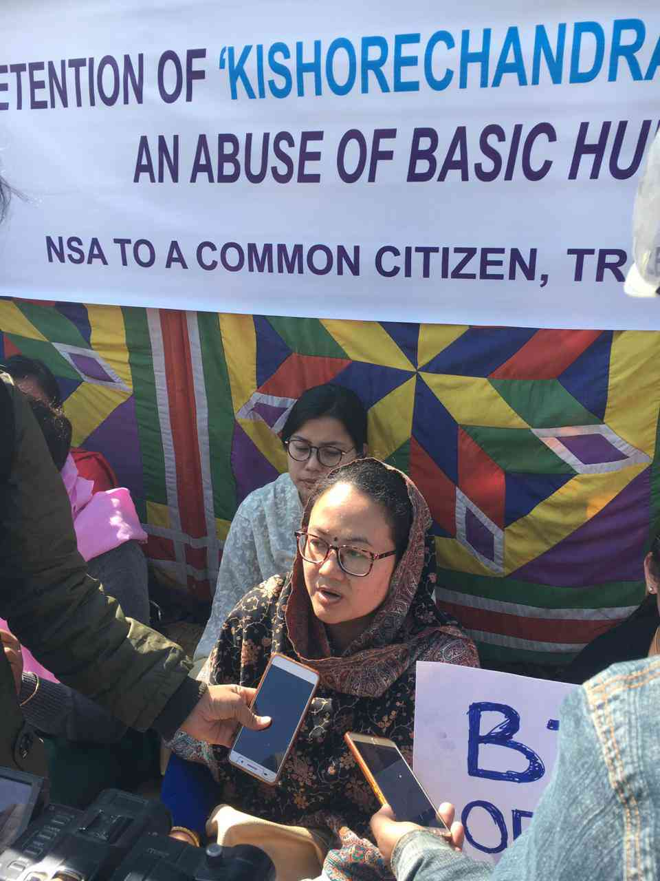 Ranjita Elnanbam, wife of the arrested journalist Kishorechandra Wangkhem.