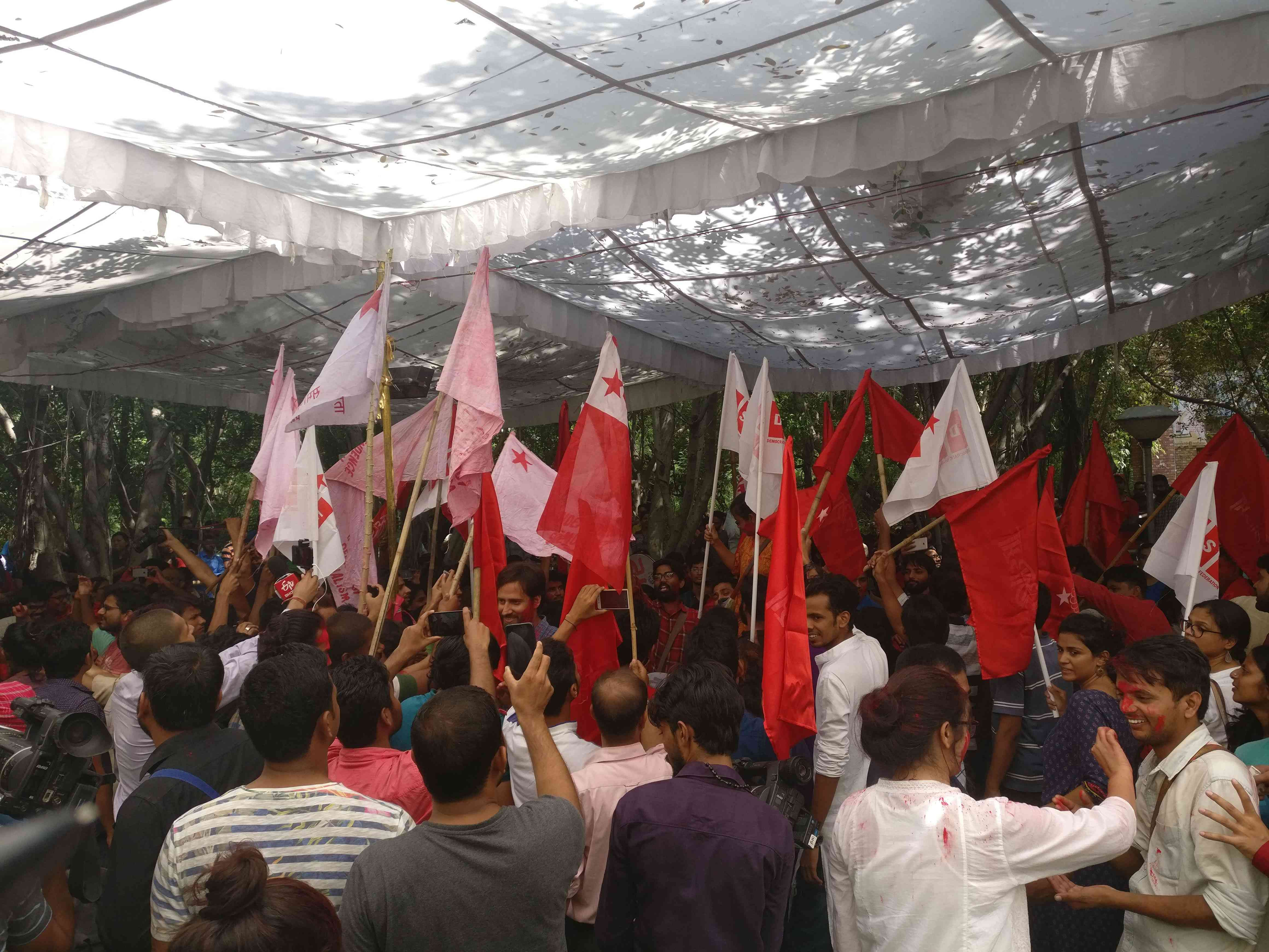 Celebrations had begun over an hour before the final results were declared. The Left Unity candidates were so far ahead that no upset was expected. (Photo credit: Shreya Roy Chowdhury).