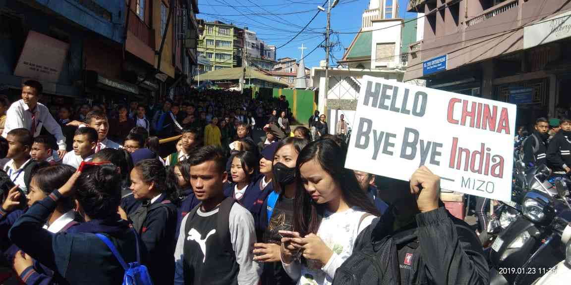 People protest against the Citizenship Bill in Mizoram. Photo credit: The Young Mizo Association