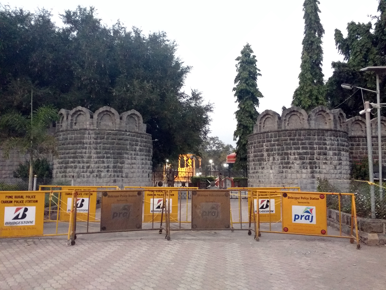 The police have barricaded Sambhaji Maharaj's tomb. Photo: Mridula Chari