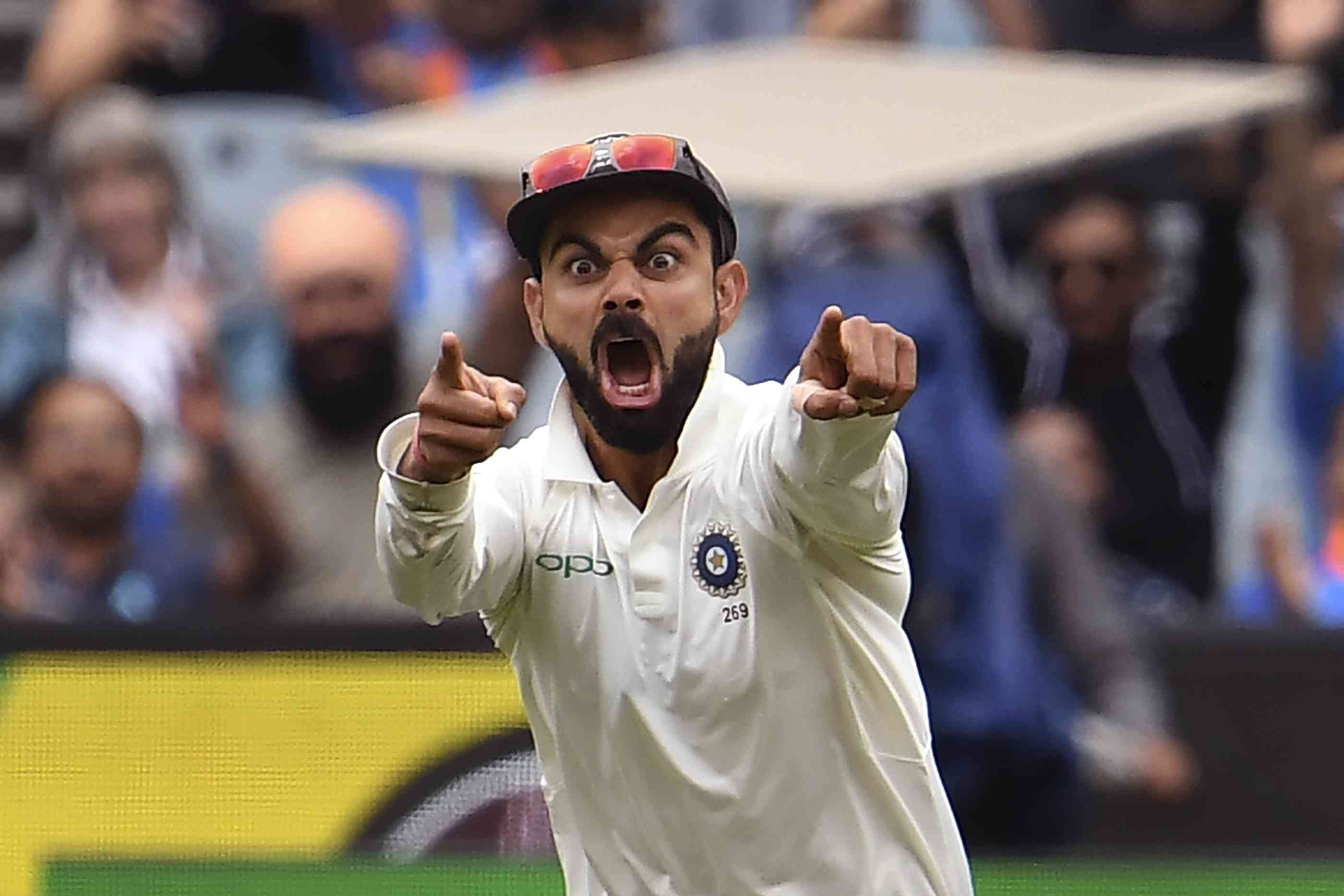 India captain Virat Kohli reacts during the Test series against Australia, where the visitors have taken a 2-1 lead going into the final match (AFP)