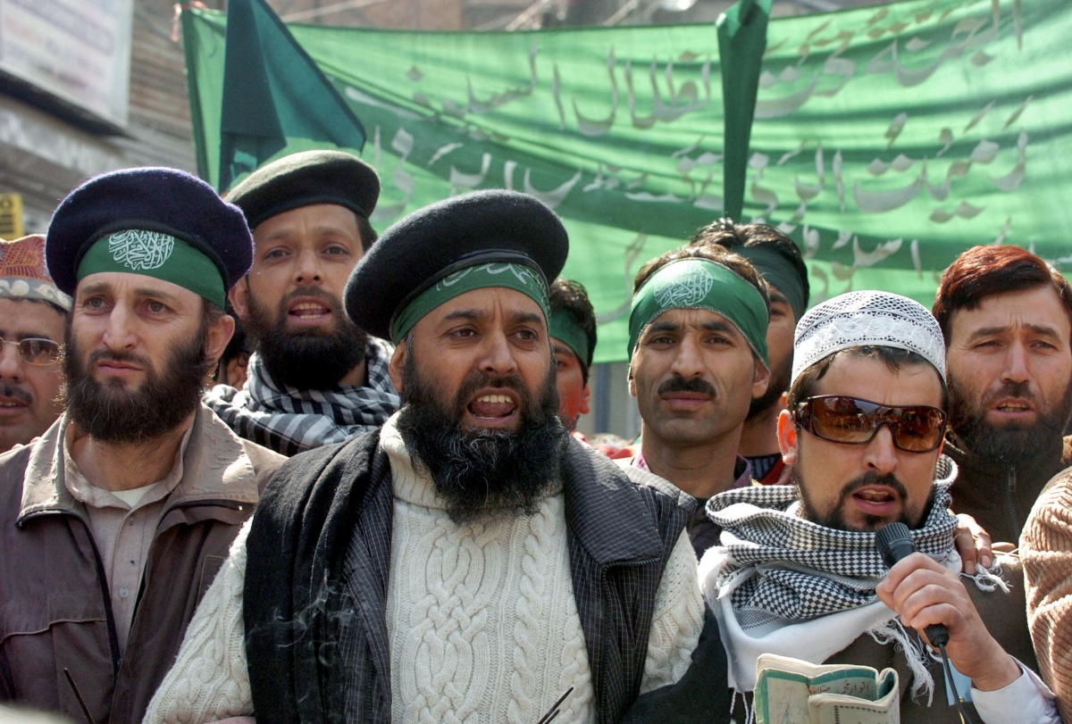 Chairman of the Islamic Students' League Shakeel Bakshi (centre) at a procession to mark the birthday of the Prophet Mohammed in Srinagar in 2008. (Photo credit: Tauseef Mustafa/AFP).