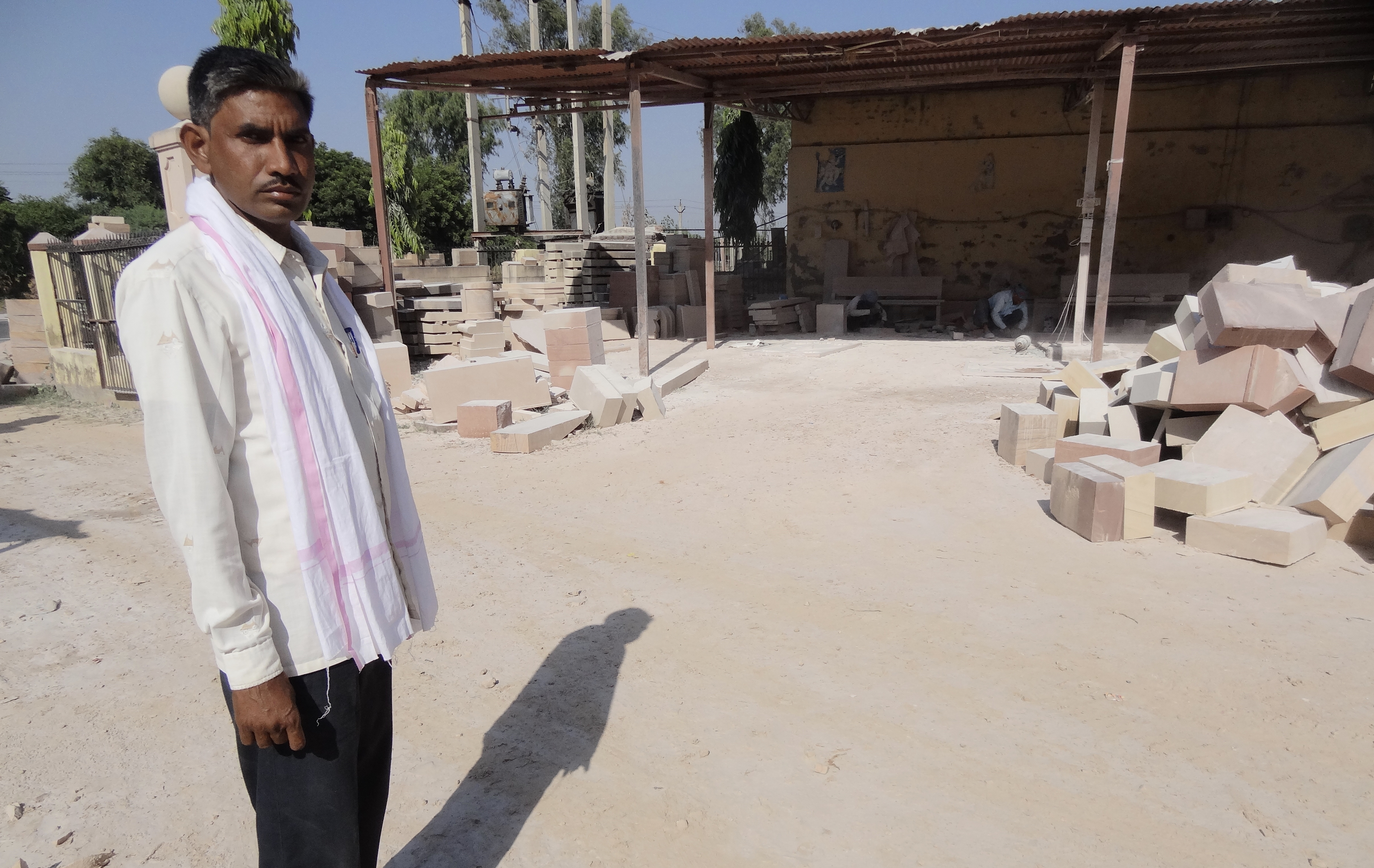 Hariom Saini at a stone-cutting factory in Dausa, Rajasthan. (Photo: Shivam Saini)