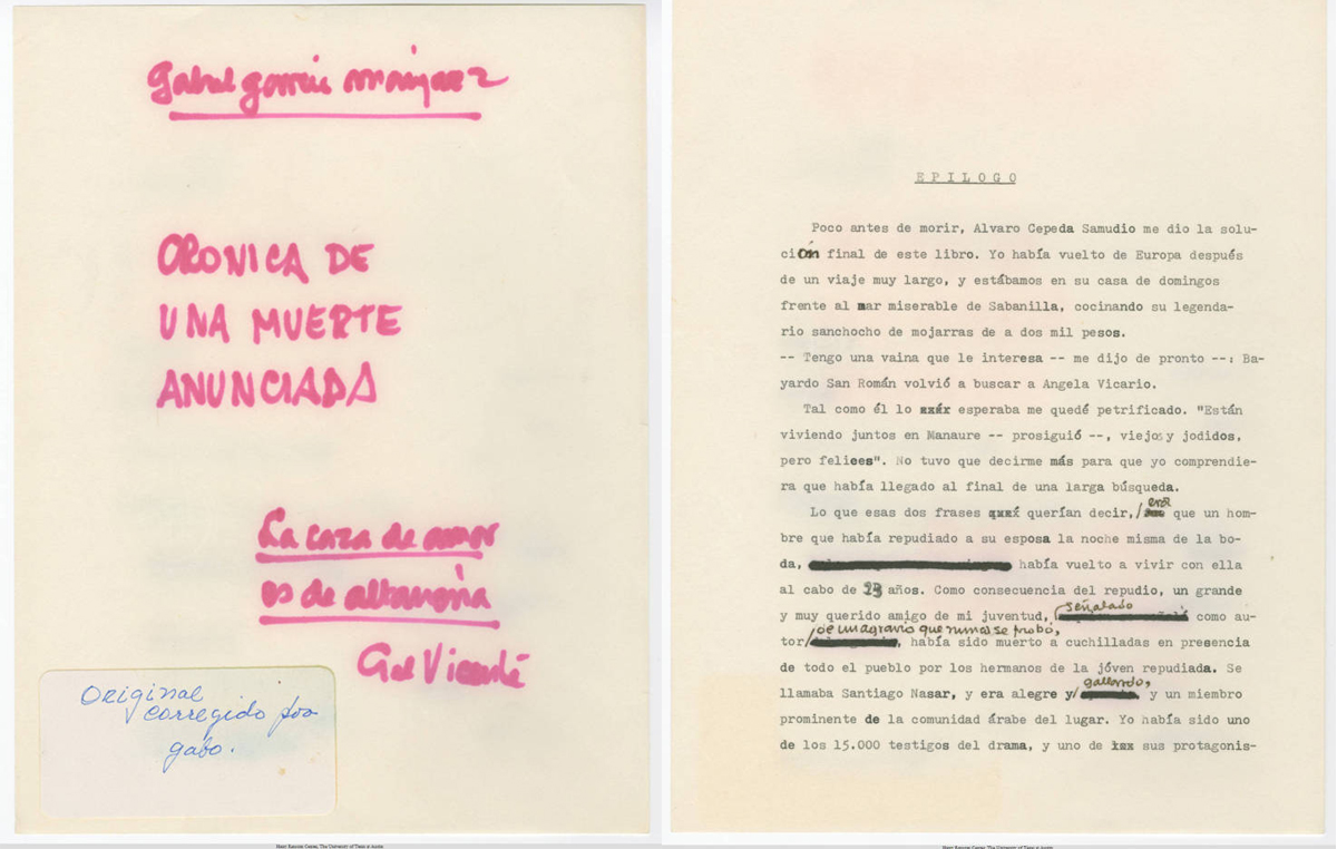 "Draft of ""Crónica de Una Muerte Anunciada"" (""Chronicle of a Death Foretold""), 1980 (Harry Ransom Center at The University of Texas, Austin)"