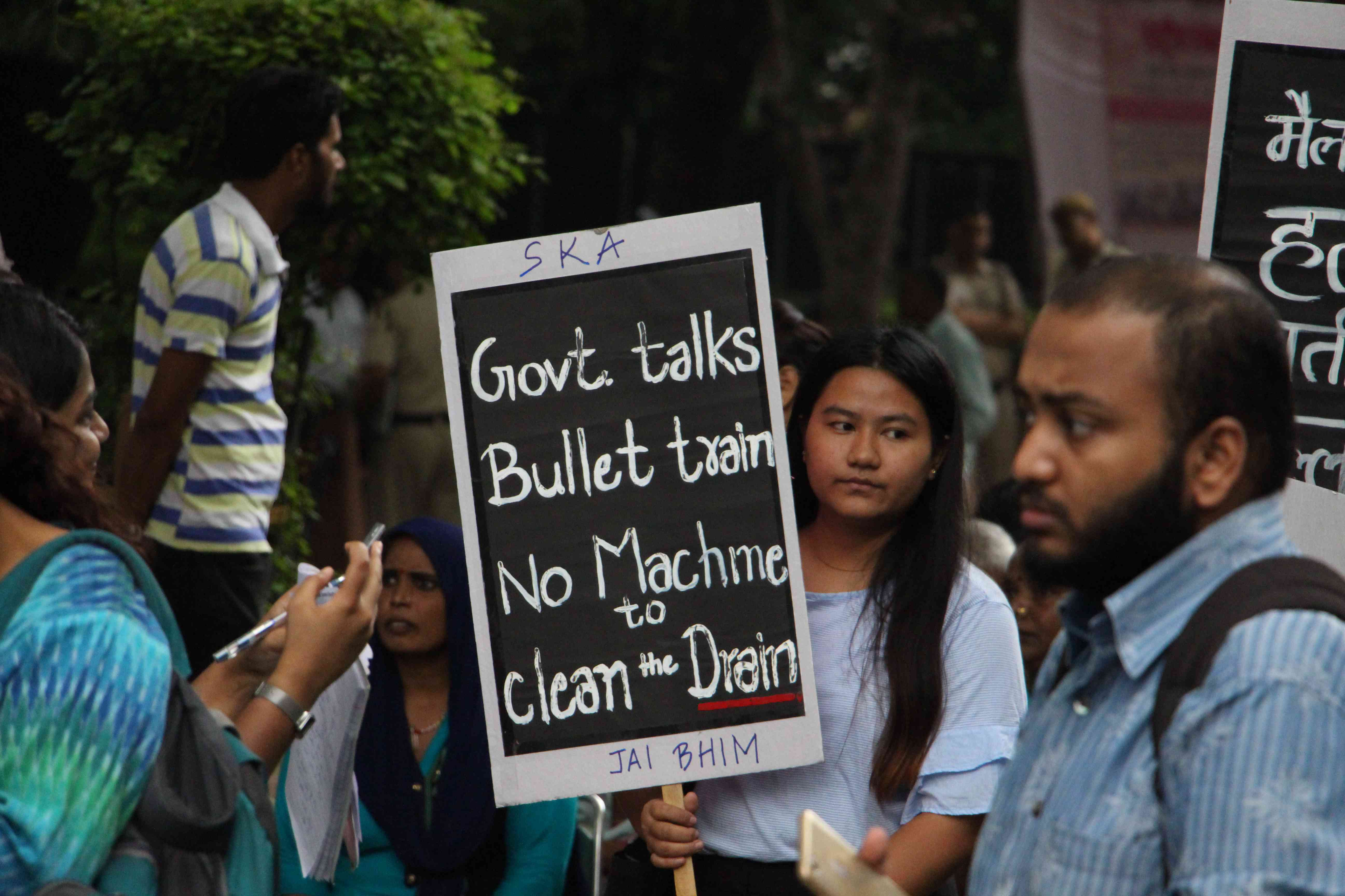 Many protestors said the recent deaths reflected poorly on Swachh Bharat. Photo credit: Aabid Shafi