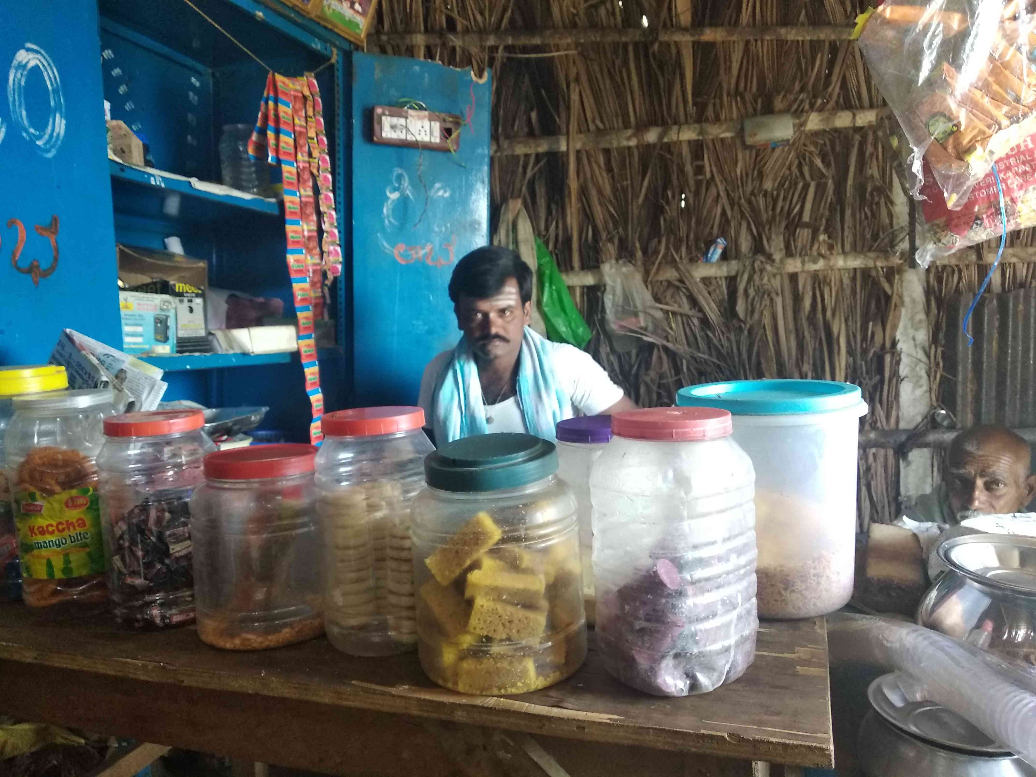 Tea shop owner Ganesh, a member of the dominant Lingayat community, in his shop in Nandihalli village.