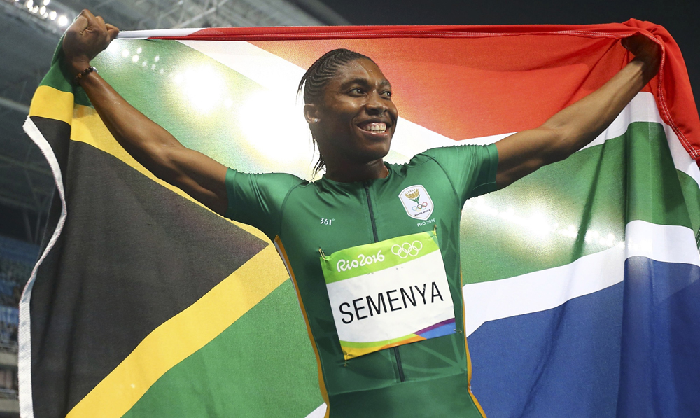 South Africa's Castor Semenya was subjected to gender testing in 2009 and could not participate in athletics for a year. At Rio, she won gold in the women's 800 metre event. Image credit: Dominic Ebenbichler / Reuters
