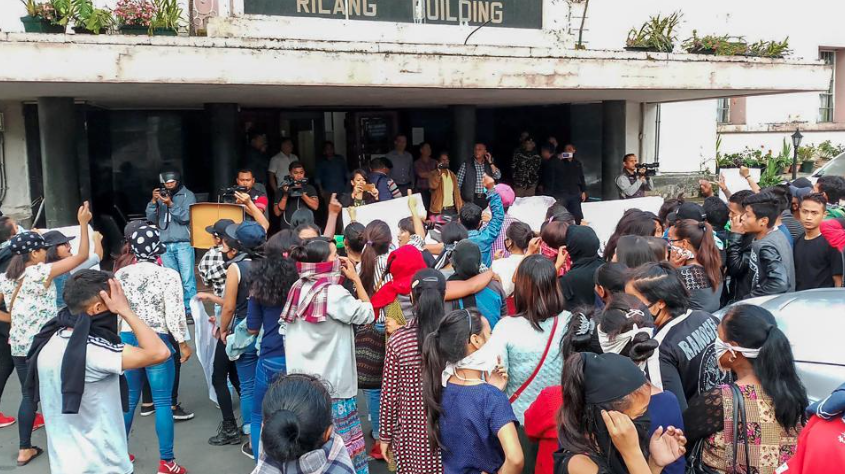 Protests outside the Meghalaya Secretariat in Shillong on June 4. (Credit: PTI)