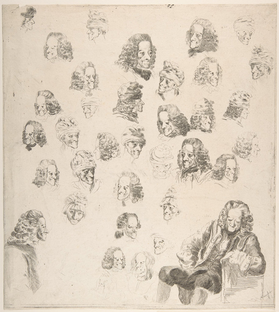 Sketches of Voltaire aged 81, by Baron Dominique Vivant Denon, 1775. Image credit: Gift of Joseph Verner Reed, 1949