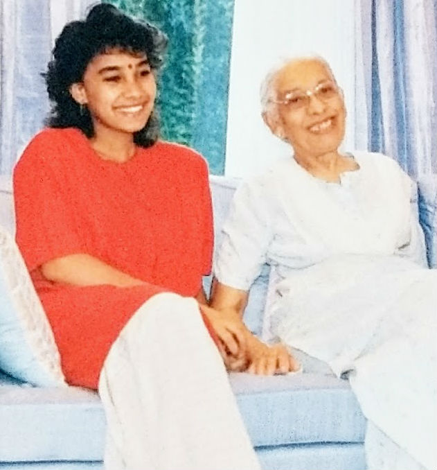 Pallavi Sitlani with her grandmother, Mrs Balbir Singh, in Delhi in 1990.