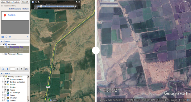 Satellite imagery courtesy Google Earth.