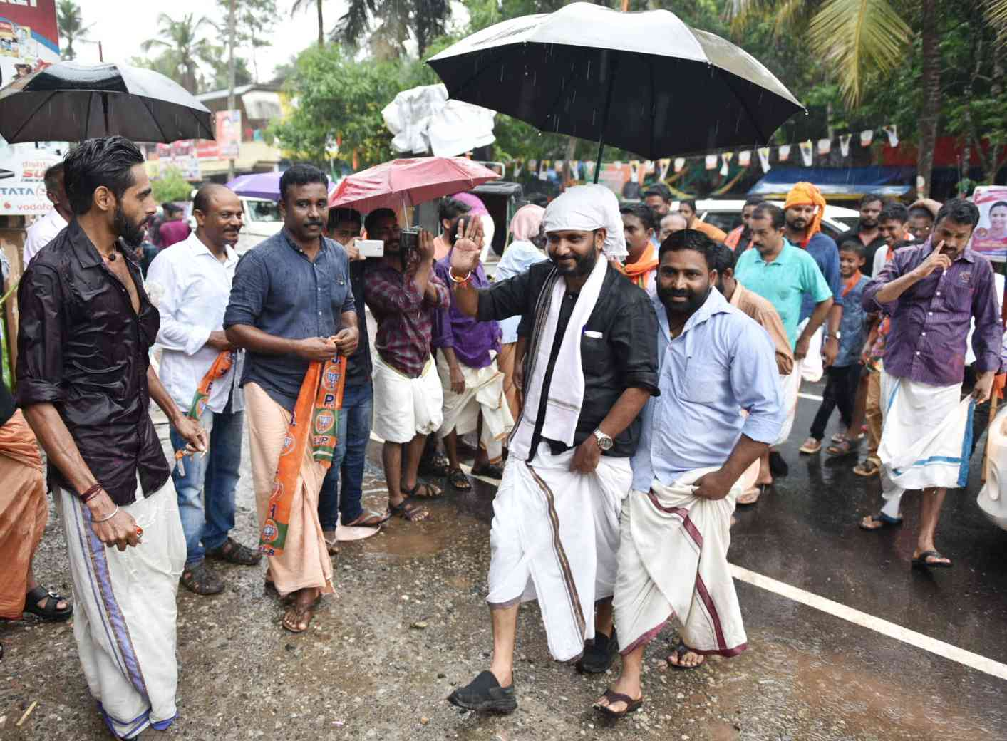 BJP candidate K Surendran campaigns in Pathanamthitta. (Photo: By special arrangement).