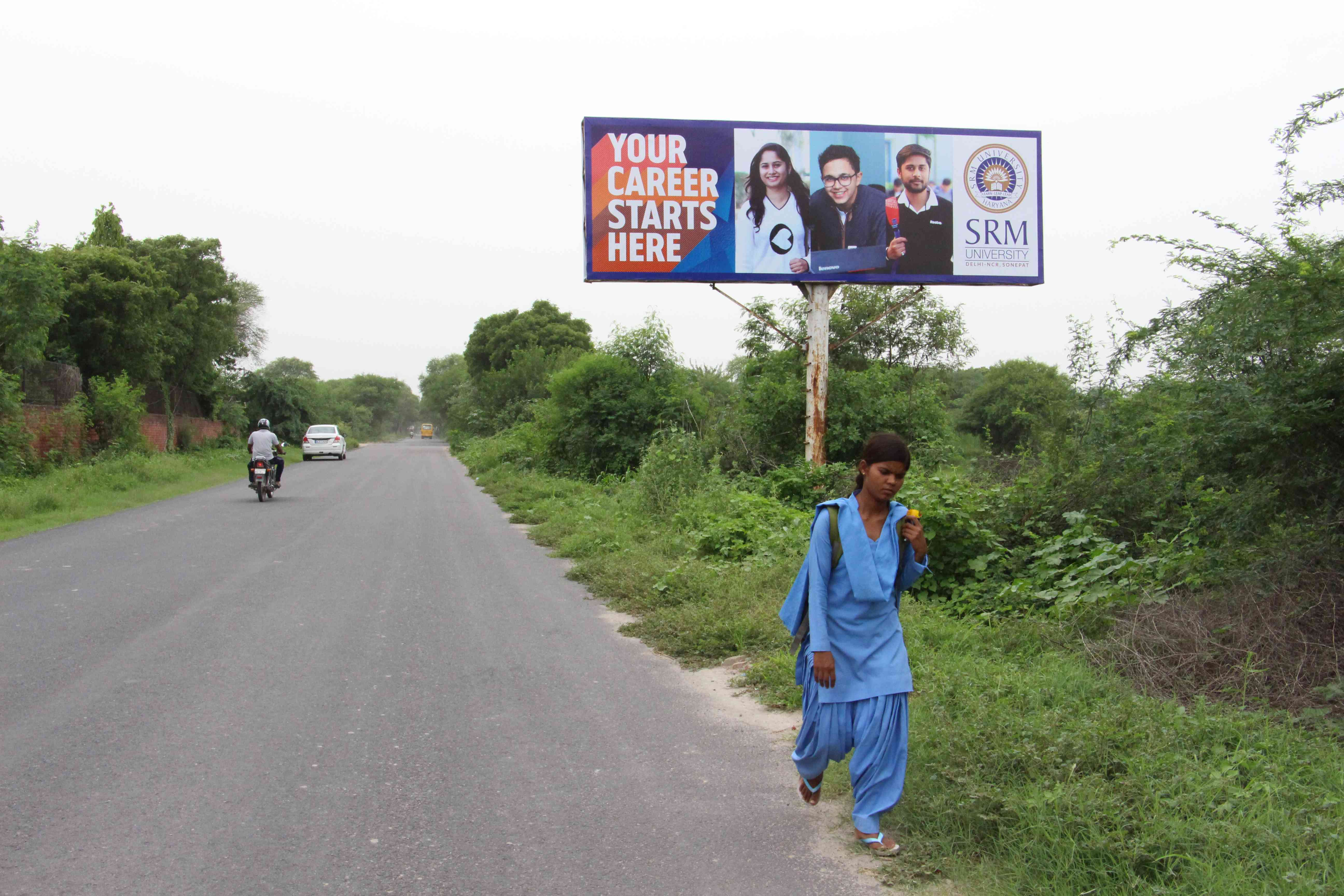 SRM University has advertisements posted on practically every road to and from the Education City.