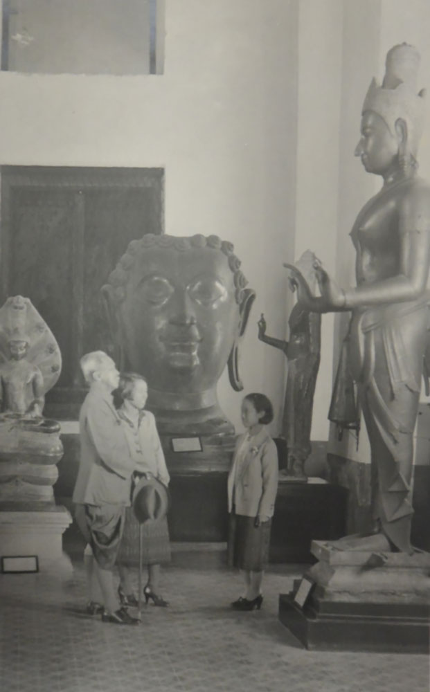 Prince Damrong admiring sculptures at the National Museum in Bangkok in 1928, photograph in Le May's memories. Photo credit: British Library, MSS Eur C275/7